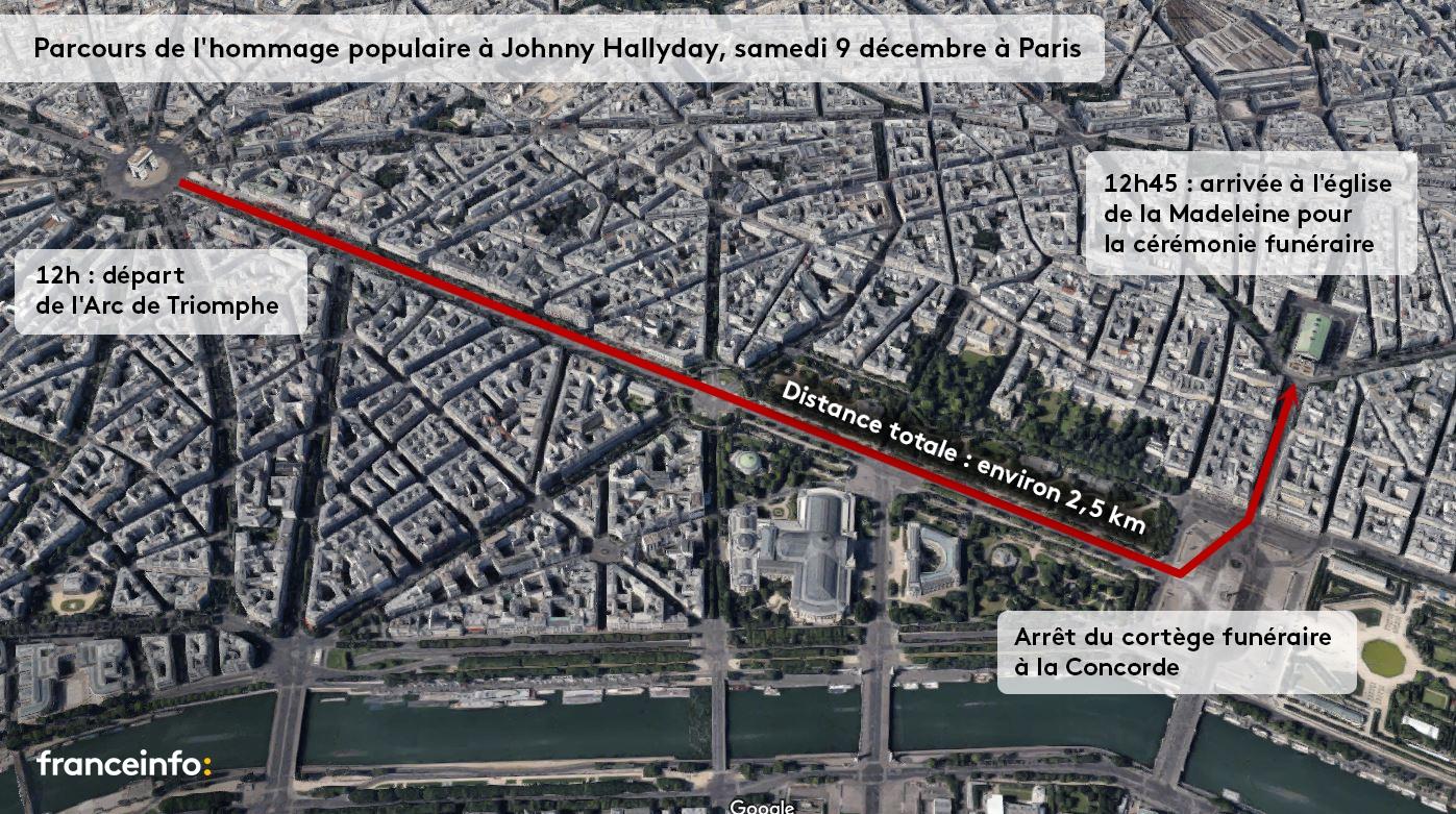 Le parcours de l\'hommage populaire à Johnny Hallyday à Paris, le 9 décembre 2017.