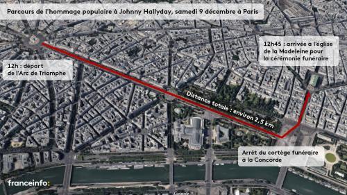 INFOGRAPHIE. De l'Arc de triomphe à la Madeleine, le parcours de l'hommage populaire à Johnny samedi à Paris