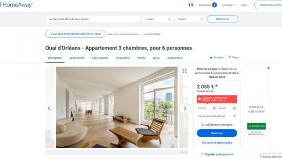 Exemple d'annonce dont la ville de Paris demande le retrait immédiat à Airbnb.