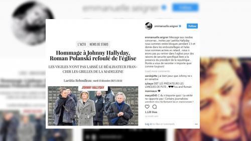 """""""Nous sommes arrivés en retard"""" : Emmanuelle Seigner dément avoir été refoulée de l'hommage à Johnny Hallyday"""