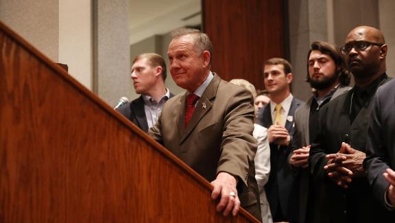 Le candidat républicain Roy Moore, le 12 décembre 2017 à Montgomery (Etats-Unis).