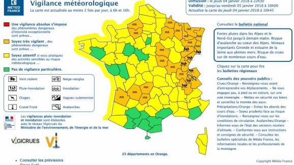 Météo France place 49 départements en vigilance orange — Tempête Eleanor