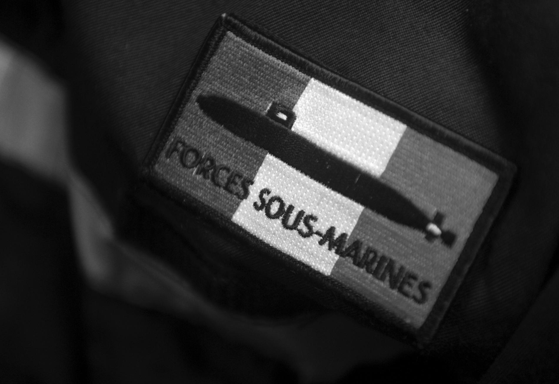 Le patch des forces sous-marines françaises en 2017 (FRED TANNEAU / AFP)