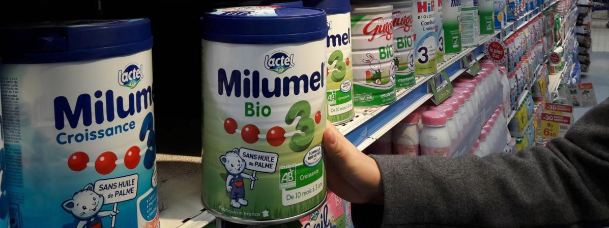 Des boîtes de lait pour bébé Milumel de chez Lactalis.