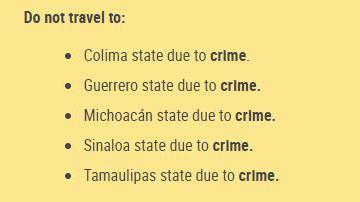 Le département d\'Etat américain a publié une mise en garde à l\'attention des touristes, leur demandant de ne pas voyager dans cinq Etats mexicains, en raison de la criminalitée.