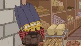 Homer croit voir sa femme Marge dans des baguettes de pain.