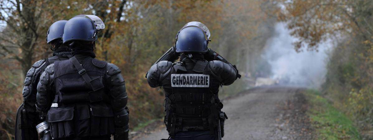Des gendarmes tentent d\'empêcher des zadistes d\'occuper les lieux à Notre-Dame-des-Landes (Loire-Atlantique), le 8 février 2013.