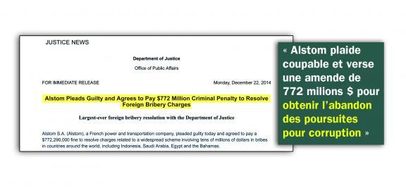 """""""Alstom plaide coupable"""" : extrait du site internet du Département de la justicedes Étast-Unis."""