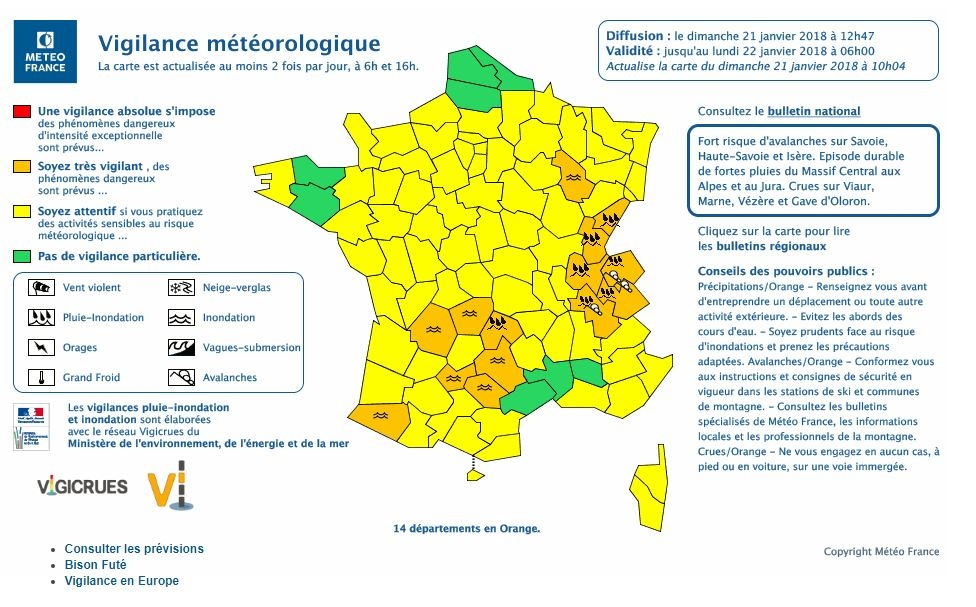 La carte des départements placés en vigilance orange par Météo France le 21 janvier 2018