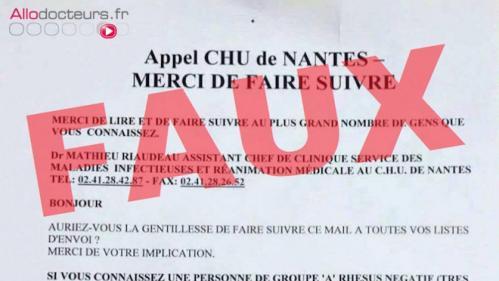Non, le CHU de Nantes n'a pas besoin de sang rare pour sauver un enfant...