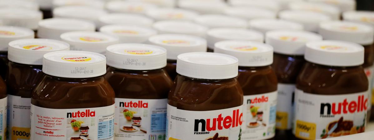 Des pots de Nutella dans l\'usine Ferrero de Villers-Ecalles (Seine-Maritime),en janvier 2017.