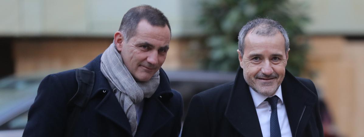 Le président autonomiste du conseil exécutif de Corse, Gilles Simeoni (à gauche) et le président nationaliste de l\'Assemblée de Corse, Jean-Guy Talamoni, le 22 janvier 2018 à Paris.