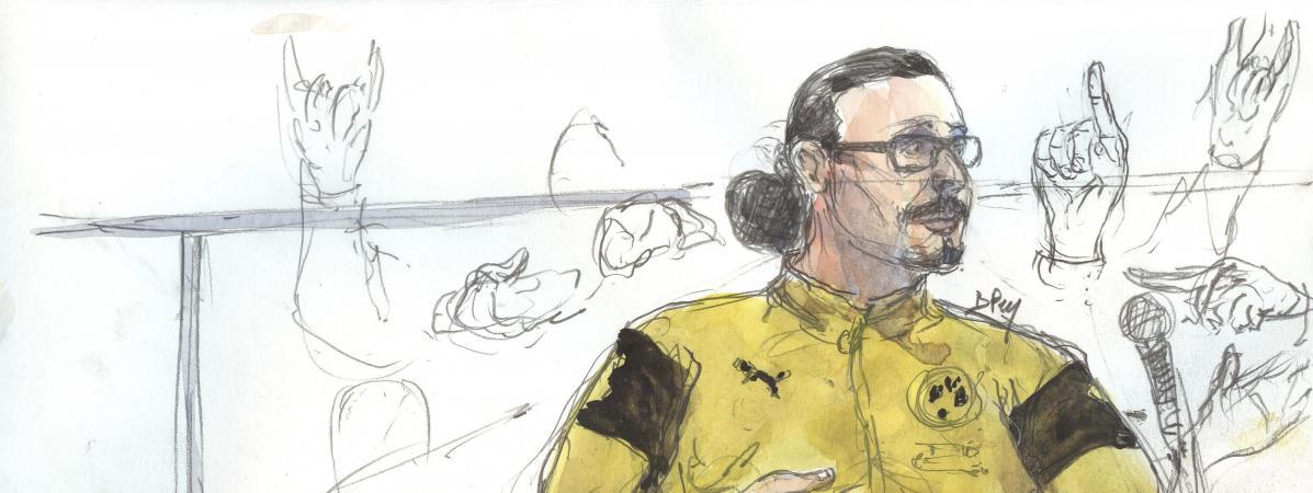 Un dessin représente Jawad Bendaoud, le 26 janvier 2018, lors de son procès à Paris.