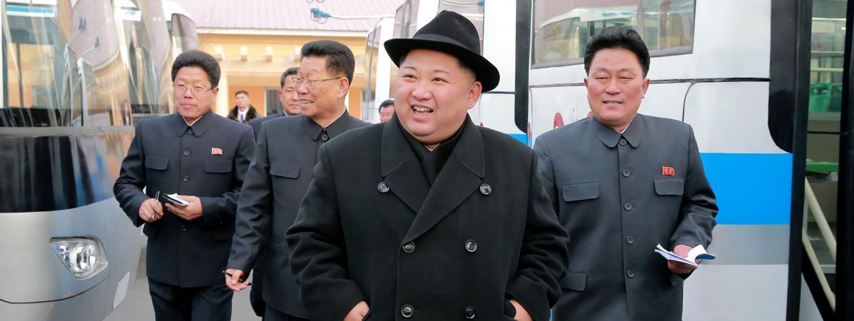 Kim Jong-un, le 1er février 2018, àPyongyang (Corée du Nord).