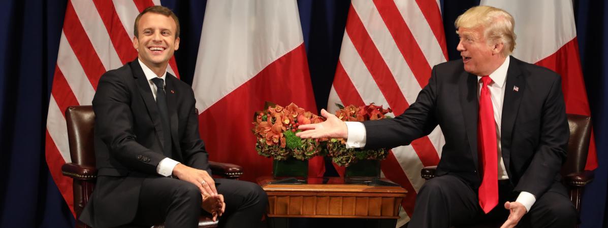 Emmanuel Macron et Donald Trump, à New York (Etats-Unis), le 18 septembre 2017, à l\'occasion de la 72e assemblée générale de l\'ONU.
