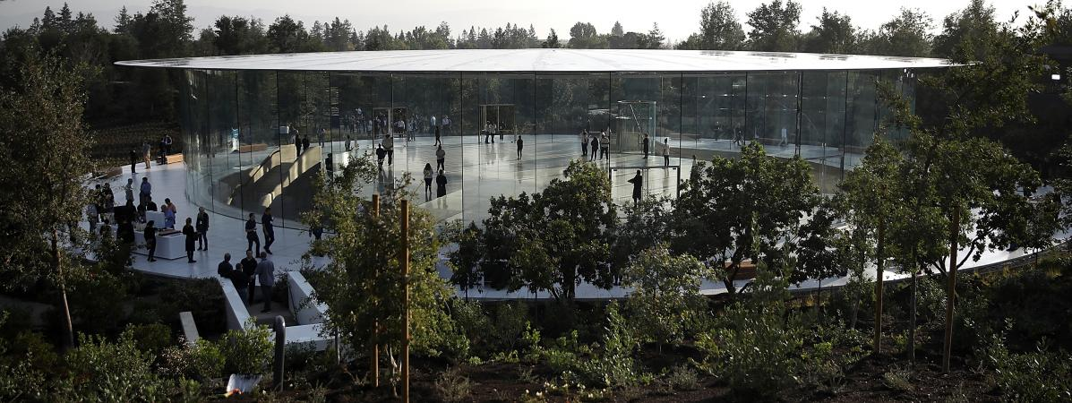 L\'amphithéâtre Steve Jobs de l\'Apple Park, le 12 septembre 2017, à Cupertino (Californie).