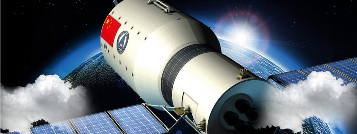 Illustration chinoise présentant le laboratoire spatial Tiangong-1.