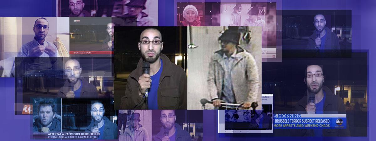 """Sur les écrans de télévision, l\'image de Fayçal Cheffou a été diffusée à côté de celle de \""""l\'homme au chapeau\"""", prise par les caméras de vidéosurveillance de l\'aéroport de Bruxelles le 22 mars 2016."""