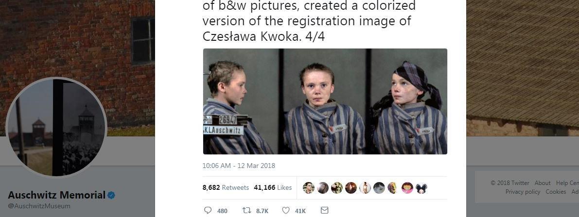 Capture d\'écran du compte Twitter du Mémorial d\'Auschwitz, lundi 12 mars 2018.