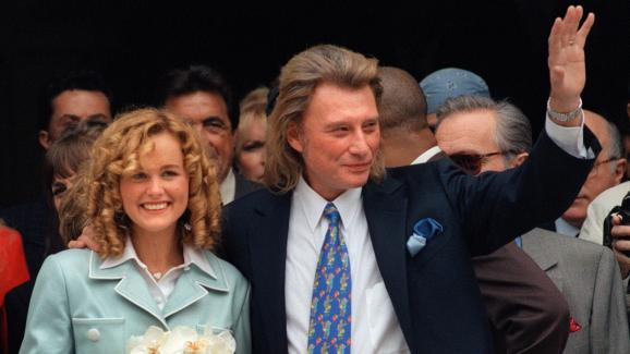 Laeticia and Johnny Hallyday on the day of their wedding, in Neuilly-sur-Seine (Hauts-de-Seine), March 25, 1996.