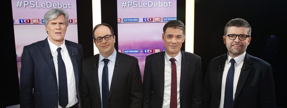 Les candidats à la primaire du Parti socialiste, Stéphane Le Foll, Emmanuel Morel, Olivier Faure et Luc Carvournas, le 7 mars 2018 à Boulogne-Billancourt (Hauts-de-Seine).