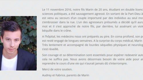 """VIDEO. """"Ça va mieux"""" : plus d'un an après sa violente agression à Lyon, Marin donne de ses nouvelles sur Facebook"""