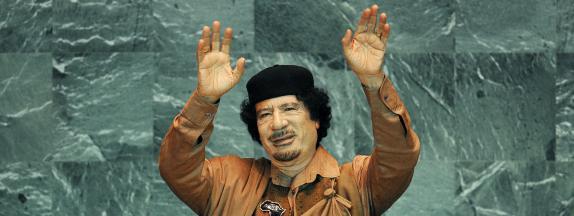 L'ancien dictateur libyen Mouammar Kadhafi, le 23 septembre 2009 à New-York (Etats-Unis).