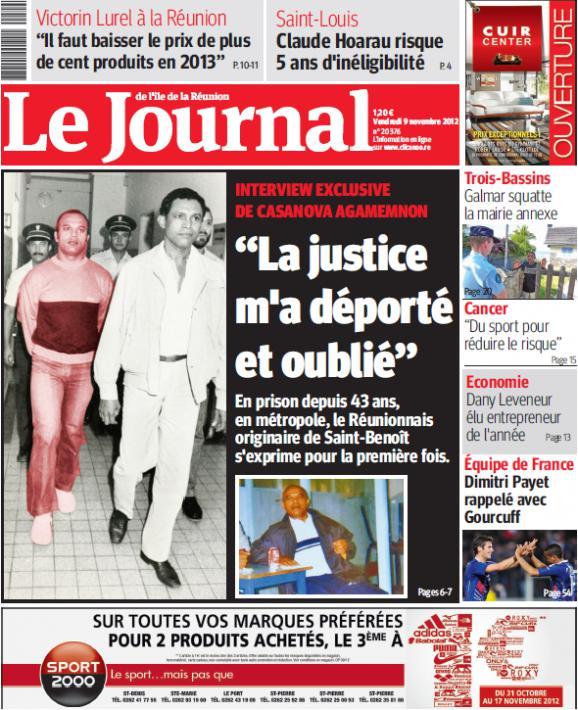 Le Journal de La Réunion publié le 9 novembre 2012 une lettre de Casanova Agamemnon.
