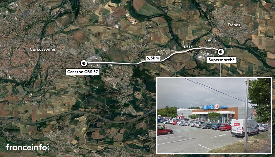 Carte de situation de la prise d\'otages dans un supermarché de l\'Aude, le 23 mars 2018.