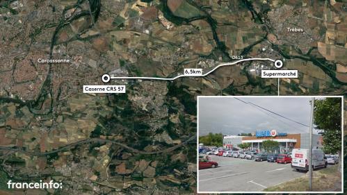 CARTE. Aude : les lieux de la prise d'otages dans un supermarché et de l'attaque ayant visé des CRS