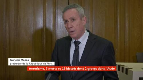 VIDEO. Attaques terroristes dans l'Aude : regardez l'intégralité de la conférence de presse du procureur François Molins