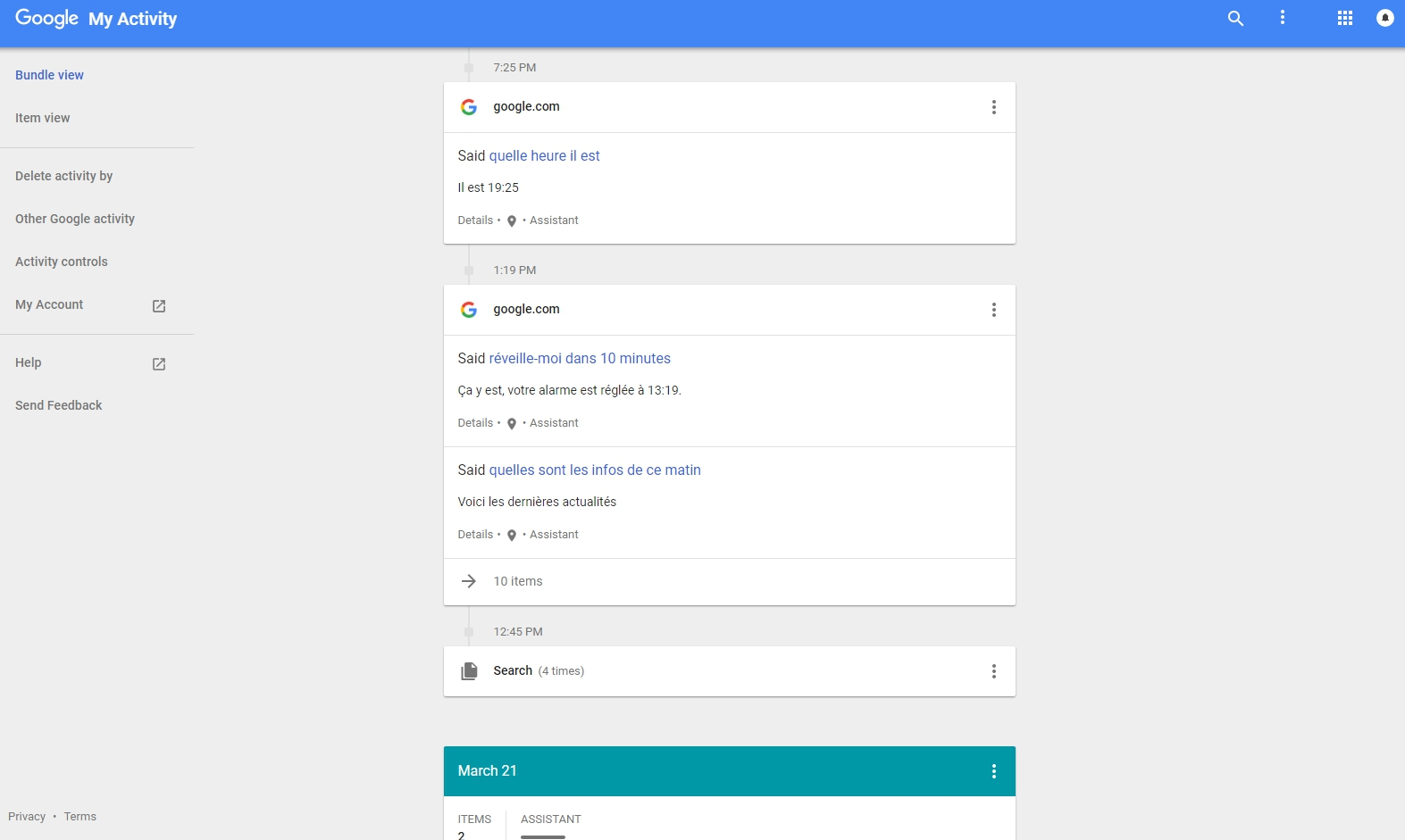 """Dans la rubrique \""""Mon activité\"""", google stocke toutes les interractions avec ses services, comme ici avec l\'assistant vocal Google Home."""