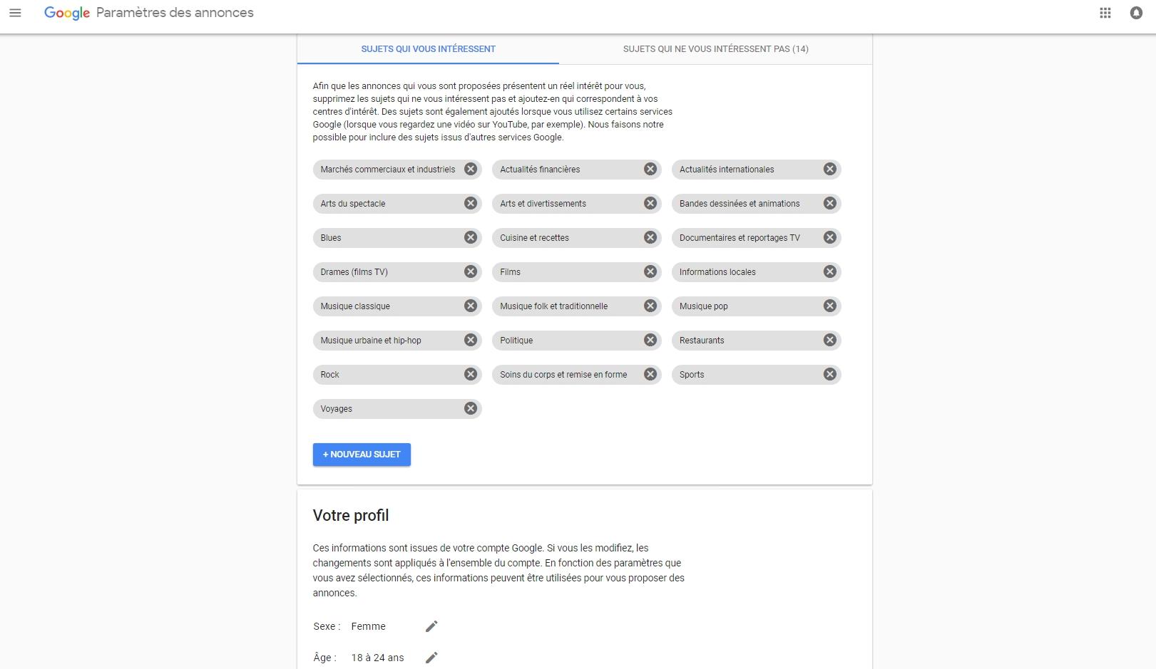 Google génère, en fonction de votre activité, un profilpour mieux cibler les publicités qui s\'affichent sur vos écrans.