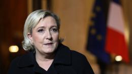La présidente du Front national Marine Le Pen à l\'Elysée, le 21 novembre 2017.