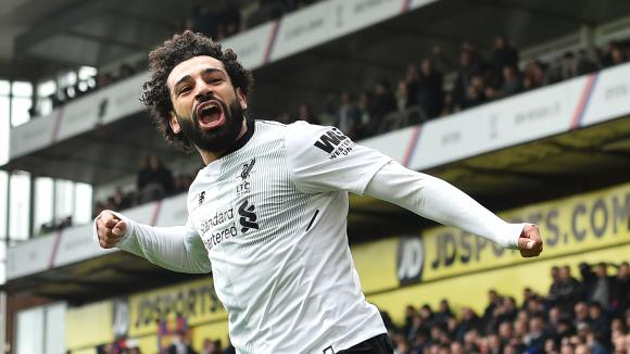 Mohamed Salah célèbre son but contre Crystal Palace, le 31 mars 2018.
