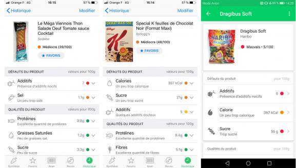 Captures d\'écran de trois produits notés par l\'application Yuka.