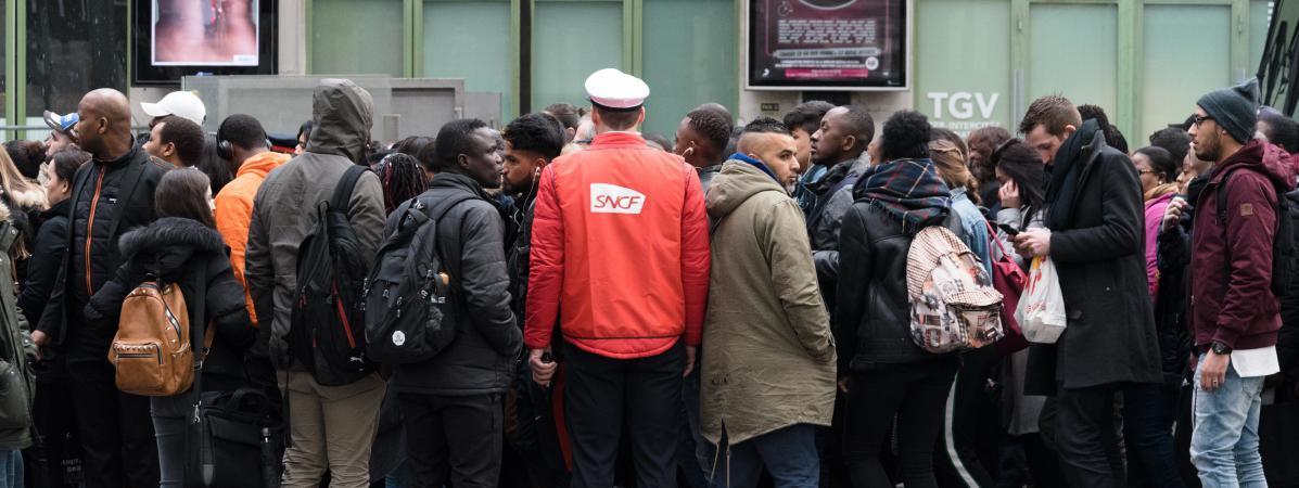 Jour de grève des cheminots à la gare de Lyon (Paris), le 3 avril 2018.