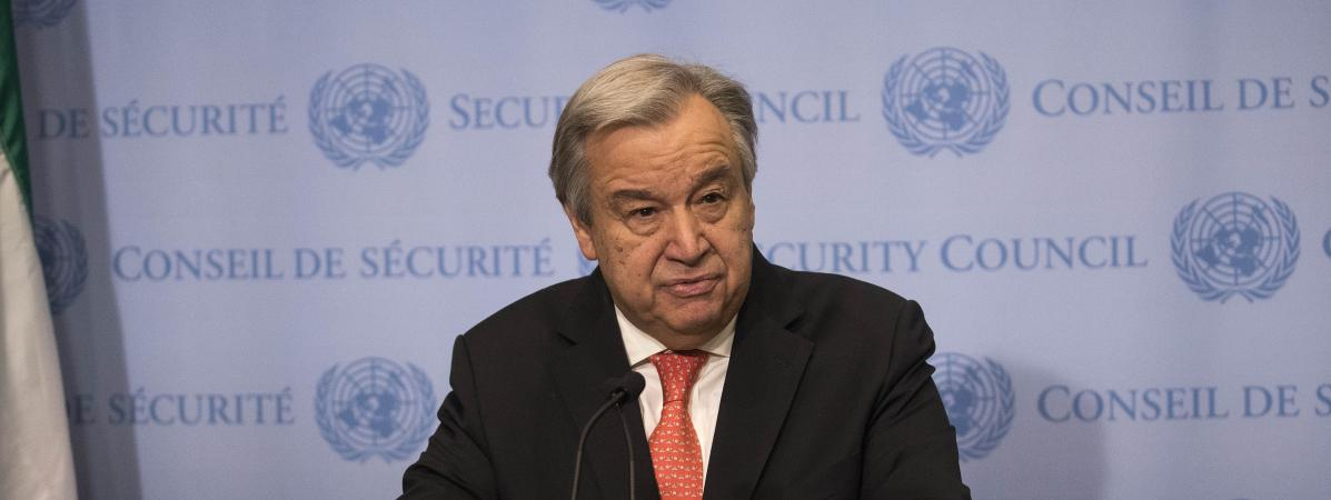 Le secrétaire général des Nations unies, Antonio Guterres, lors d\'une conférence de presse à New York (Etats-Unis), le 2 février 2018.