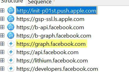 Les requêtes lancées lors du lancement de l'application Facebook.