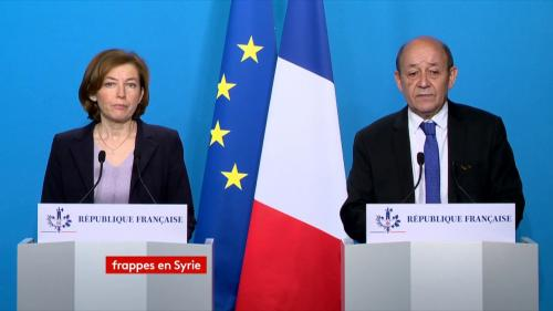 VIDEO. Regardez la déclaration de Jean-Yves Le Drian et Florence Parly après les frappes occidentales en Syrie