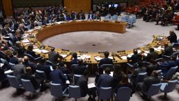 Le Conseil de sécurité de l\'ONU se réunit à New York (Etats-Unis), le 14 avril 2018.