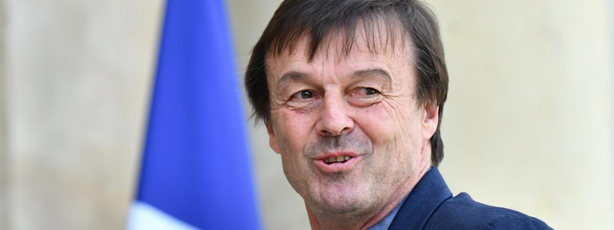 Le ministre de la Transition écologique Nicolas Hulot arrive à l\'Elysée, le 16 avril 2018.