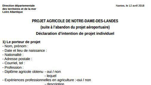 """Capture d\'écran du document intitulé\""""projet agricole de Notre-Dame-des-Landes, déclaration d\'intention\"""" mis en place par l\'Etat à l\'adresse des zadistes, le 12 avril 2018."""