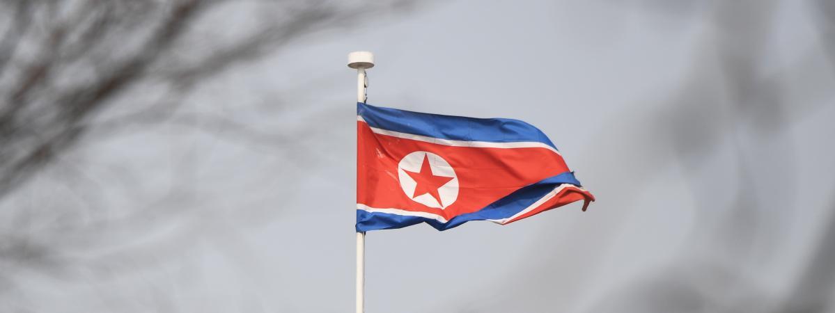 Le drapeau nord-coréen à l\'ambassade de Pékin (Chine), le 9 ars 2018.