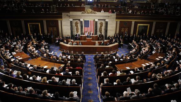 Le président français Nicolas Sarkozy tient un discours devant le parlement américain réuni en Congrès, au Capitole à Washington (Etats-Unis), le 7 novembre 2007.