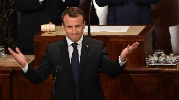 """VIDEO. """"Les Etats-Unis reviendront un jour se joindre à l'accord de Paris"""", assure Emmanuel Macron au Capitole"""