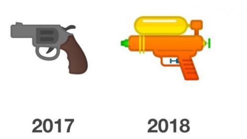 """Google, Microsoft et Facebook abandonnent l'émoji """"revolver"""" pour un pistolet à eau"""