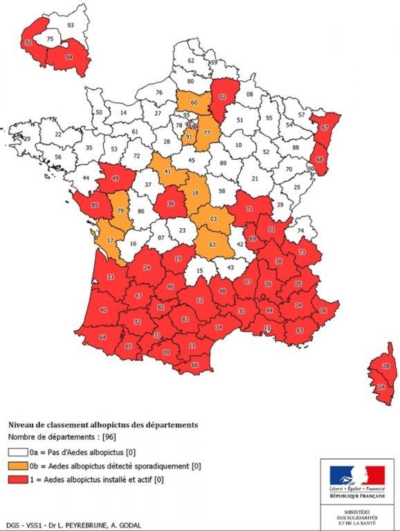 La carte des départements où le moustique tigre est présent.