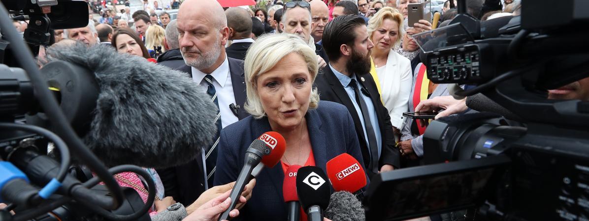 Marine Le Pen, le 1er mai 2018, à Cannes (Alpes-Maritimes).