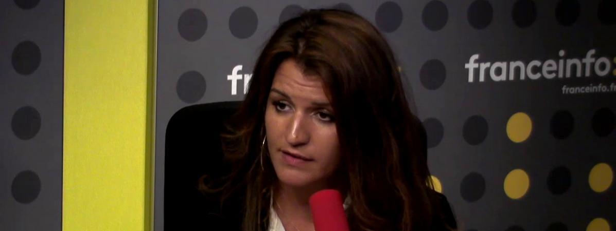 La secrétaire d\'Etat chargée de l\'égalité entre les femmes et les hommesMarlène Schiappa dans le studio de franceinfo, le 2 mai 2018.